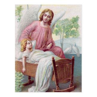 Guardian angel, girl and cradle postcard