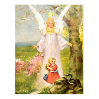 Guardian angel girl and queue postcard