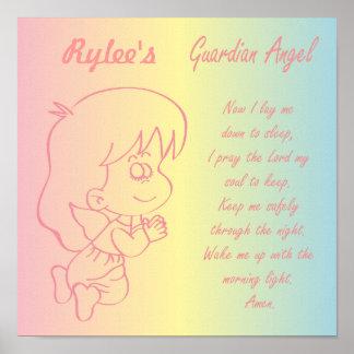 Guardian Angel Girl Evening Prayer Poster