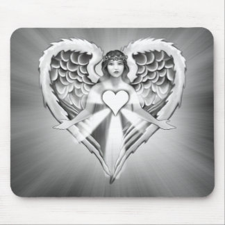 Guardian Angel Heart Wing Design Mouse Pad