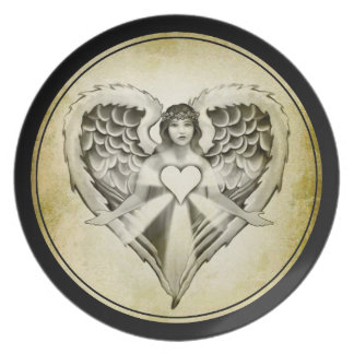 Guardian Angel Heart Wings Design Dinner Plate