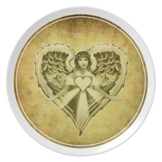 Guardian Angel Heart Wings Design Melamine Plate