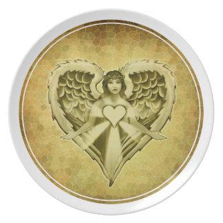 Guardian Angel Heart Wings Design Melamine Plate