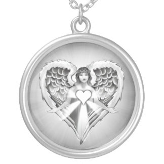 Guardian Angel Heart Wings Design Silver Plated Necklace