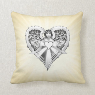 Guardian Angel Heart Wings Design Throw Pillow