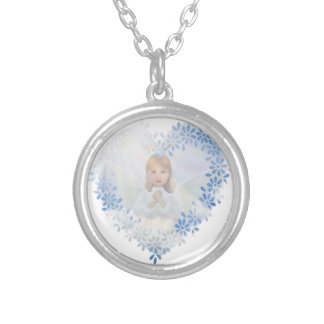 Guardian Angel in a Heart Silver Plated Necklace