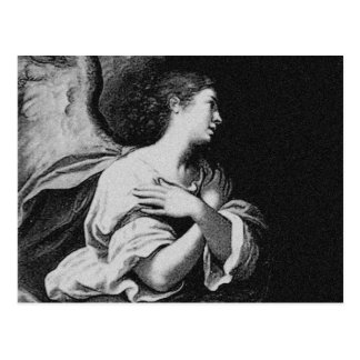 Guardian Angel in Black and White Postcard