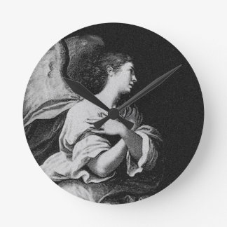 Guardian Angel in Black and White Round Clock