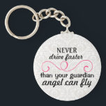 "Guardian Angel Key Chain Pink Grey<br><div class=""desc"">Give this great gift to your newly licensed loved one or for a sweet sixteen birthday present!</div>"
