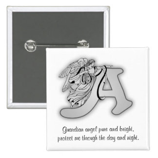 Guardian Angel Letter A 2 Inch Square Button