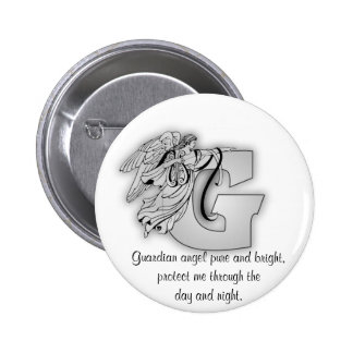 Guardian Angel Letter G 2 Inch Round Button