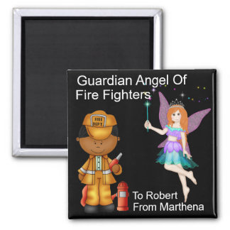 Guardian Angel of Fire Fighters by SRF 2 Inch Square Magnet