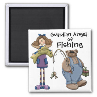 Guardian Angel of fishing by SRF 2 Inch Square Magnet
