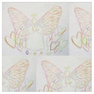 Guardian Angel of Hearts Art Fabric Material
