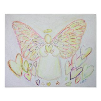 Guardian Angel of Hearts Art Poster Print