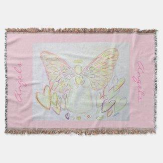 Guardian Angel of Hearts Custom Art Throw Blanket