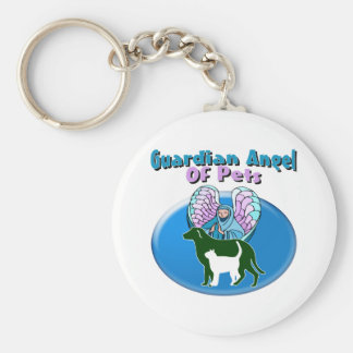Guardian Angel Of Pets Basic Round Button Keychain