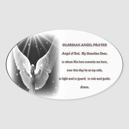 Guardian Angel prayer Sticker Oval Sticker