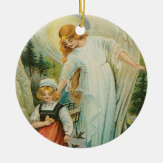 Guardian Angel Protecting a Girl Holiday Ornament