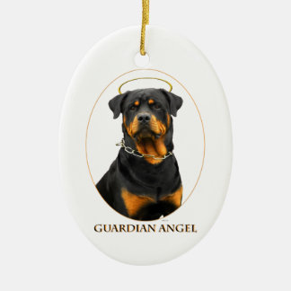 guardian angel rottweiler halo ornament
