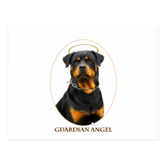 guardian angel rottweiler halo postcard