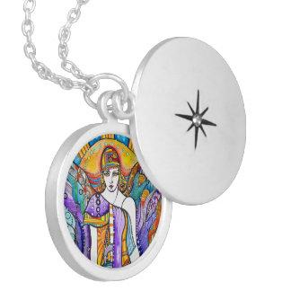 Guardian Angel Round Locket Necklace