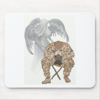 Guardian Angel Watches over a Solider in Prayer Mouse Pad