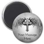 Guardian Angel Winged Cross Design 2 Inch Round Magnet