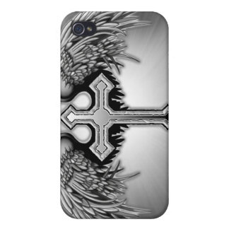 Guardian Angel Winged Cross Design iPhone 4 Cover