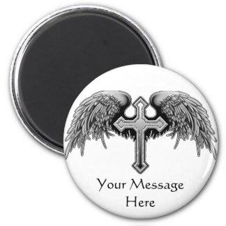 Guardian Angel Winged Cross Design Magnet