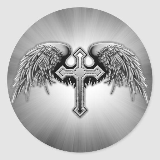 Guardian Angel Winged Cross Design Round Stickers