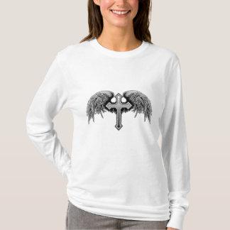 Guardian Angel Winged Cross Design T-Shirt