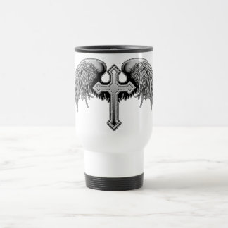 Guardian Angel Winged Cross Design Travel Mug