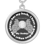 Guardian Angel wings with picture and name Round Pendant Necklace