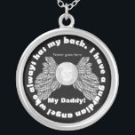 """Guardian Angel wings with picture and name Silver Plated Necklace<br><div class=""""desc"""">This necklace has a place to add a picture of a loved one, the word &quot;Daddy&quot; that you can change to what you want, and a place to insert a name. Has the words going around in a circle that says: &quot;I have a guardian angel who always has my back.&quot;...</div>"""