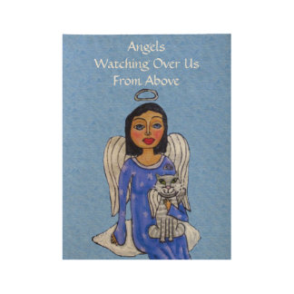 Guardian Angel With Cat Sitting on Cloud in Sky Wood Poster