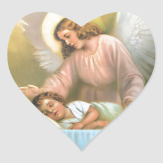 Guardian Angel with Child Heart Sticker