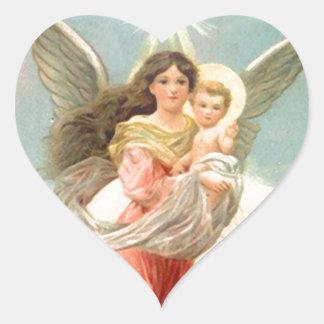 Guardian Angel with Children Heart Sticker