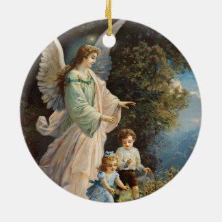 Guardian Angel with Children Keepsake Art Ornament