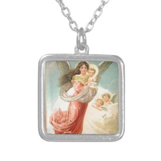 Guardian Angel with Children Silver Plated Necklace