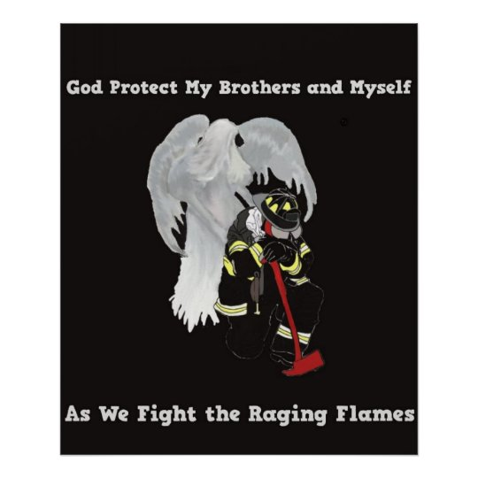 Guardian Angel with Firefighter Poster