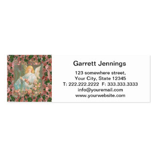 Guardian Angel with Pink Roses Business Card Templates