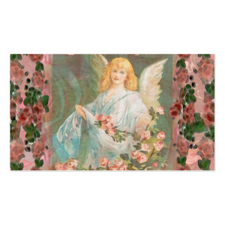 Guardian Angel with Pink Roses Business Card Template