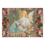 Guardian Angel with Pink Roses Stationery Note Card