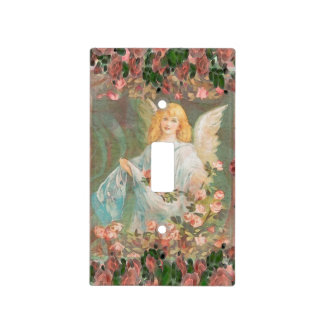 Guardian Angel with Pink Roses Light Switch Cover
