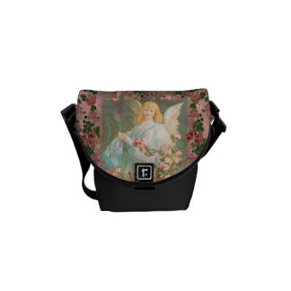 Guardian Angel with Pink Roses Messenger Bag