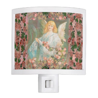 Guardian Angel with Pink Roses Night Light