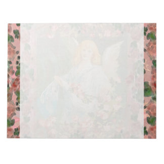 Guardian Angel with Pink Roses Notepad