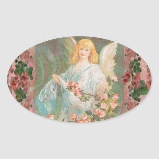 Guardian Angel with Pink Roses Oval Sticker