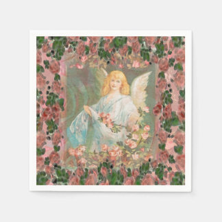 Guardian Angel with Pink Roses Paper Napkin